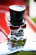 Humor Prints - Skull with top hat hood ornament Print by Garry Gay