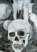 Human Skull Drawings - Skulls by Duwayne Washington