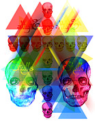 Kenal Louis Digital Art Metal Prints - Skulls Illuminate Skulls Metal Print by Kenal Louis