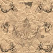 Scary Digital Art Prints - Skulls In Grunge Style Print by Michal Boubin