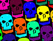 Haunted House  Digital Art Prints - Skulls Print by Jame Hayes