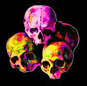 Macabre Digital Art Metal Prints - Skulls Metal Print by Vicky Brago-Mitchell
