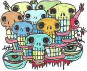 Neo Expressionism Mixed Media Framed Prints - Skullz Framed Print by Robert Wolverton Jr