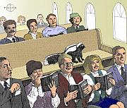 Gary Peterson Art - Skunk Goes to Church - Sits In Own Pew by Gary Peterson