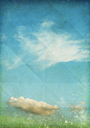 Stained Mixed Media Metal Prints - Sky And Cloud On Old Grunge Paper Metal Print by Setsiri Silapasuwanchai