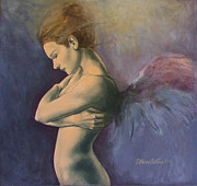 Figurative Paintings - Sky below ground by Dorina  Costras