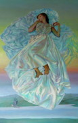 Satin Dress Painting Framed Prints - Sky Bride Framed Print by Cynda Valle