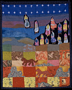 Art Quilt Tapestries - Textiles Prints - Sky Dancers Print by Roberta Baker
