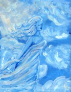 Blue Sculpture Framed Prints - Sky Goddess Framed Print by Cassandra Geernaert