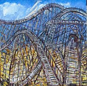Youthful Painting Metal Prints - Sky High Coaster Metal Print by Stan Baldwin