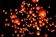 Large Group Of Objects Art - Sky Lanterns In Pinghsi by Jun