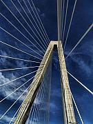 Charleston Sc Posters - Sky Lines of Arthur Ravenel Jr Bridge Poster by Dustin K Ryan