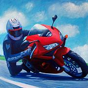 Motorcycle Painting Posters - Sky Pilot - Honda CBR600 Poster by Brian  Commerford