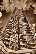 Tone Mapped Posters - Sky Scraper in Sepia Tones Poster by Val Black Russian Tourchin