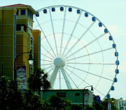 Carnivals Prints - Sky Wheel Print by Karen Wiles
