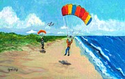 Gretzky Framed Prints - Skydive Beach Landing Framed Print by Paintings by Gretzky
