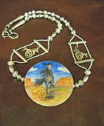 Original Watercolor Jewelry - Skydog Gallop by Connie Owens