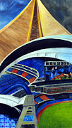 Mlb Baseball Drawings Originals - SkyDome by Chris Ripley