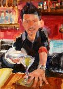 Bartender Paintings - Skyey at The Far Bar by Merle Keller