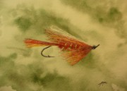 Fishing Flies Paintings - Skykomish Sunrise by Jason Bordash