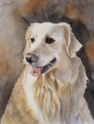 Golden Retriever Dog Posters - Skyler Poster by Patricia Pushaw