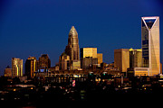 Charlotte Skyline Framed Prints - Skyline at dusk Framed Print by Patrick Schneider