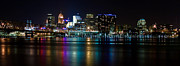 Cincinnati Framed Prints - Skyline at Night Framed Print by Keith Allen