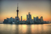Bund Shanghai Framed Prints - Skyline At Sunrise Framed Print by Photo by Dan Goldberger