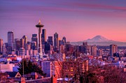 Seattle Skyline Art - Skyline At Sunset by Justin Kraemer Photography