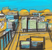 Concept Mixed Media Originals - Skyline study by Zbigniew Rusin
