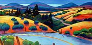 Road Painting Prints - Skyline to the Sea Print by Gary Coleman