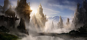 Game Metal Prints - Skyrim Fantasy Ruins Metal Print by Alex Ruiz