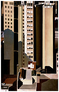 Skyscrapers. Painting Posters - Skyscraper Poster by Charles Sheeler
