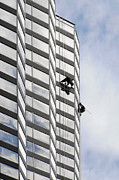 Clean Framed Prints - Skyscraper Window-Washers - Take a walk in the clouds Framed Print by Christine Till