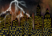Lightning Digital Art - Skyscrapers by Michal Boubin