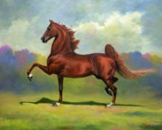 Saddlebred Posters - Skywatch Poster by Jeanne Newton Schoborg