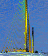 Florida Bridge Digital Art - Skyway crossing by David Lee Thompson