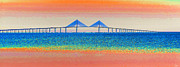 Pastel Ocean Art Posters - Skyway Morning Poster by David Lee Thompson