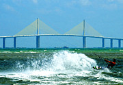 Florida Bridge Digital Art - Skyway Splash by David Lee Thompson