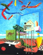 Surrealistic Paintings - Skyworms with Iguana and Giant Tree Frog by Jeffrey Frisch