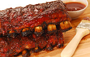 Tangy Photo Prints - Slabs of BBQ Spare ribs Print by David Smith