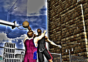 Street Basketball Prints - Slammed Print by Michael Stowers