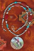 Silver Turquoise Jewelry - Slap Leather Jewelry Series Endurance Horse by Connie Owens
