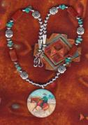 Silver Turquoise Jewelry - Slap Leather Jewelry Series Reining Horse Slide by Connie Owens
