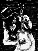 Rock Guitar Player Posters - Slash Poster by Kathleen Kelly Thompson