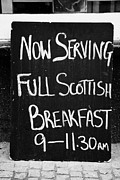 Menu Prints - slate board outside a restaurant now serving full scottish breakfast Scotland UK Print by Joe Fox
