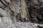 Rocky Cliff Posters - Slate Cliff Face Poster by Alan Sirulnikoff