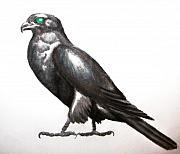 Falcon Drawings Metal Prints - Slate Falcon Metal Print by Sally Siko
