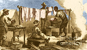 Washing Clothes Framed Prints - Slaves In Union Camp Framed Print by Photo Researchers