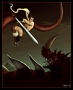 Tail Digital Art Posters - Slay the Dragon Poster by Michael Myers